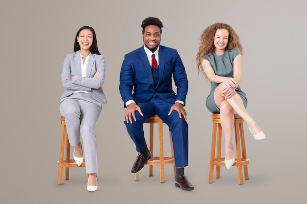 Successful business people sitting on a wooden stool jobs and career campaign