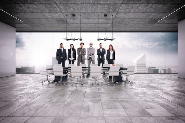 Successful business teamwork in the meeting room