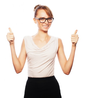 Successful business woman with arms up Premium Photo
