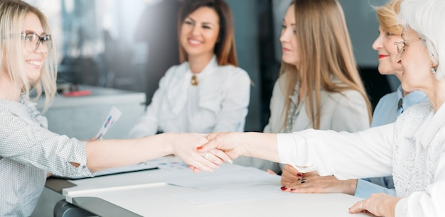 Successful business women. empowered female company