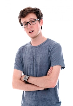 A successful businessman in eyeglasses thinking