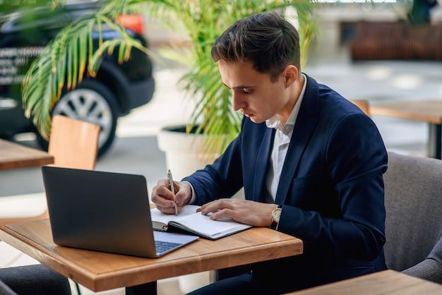Successful businessman makes a business plan