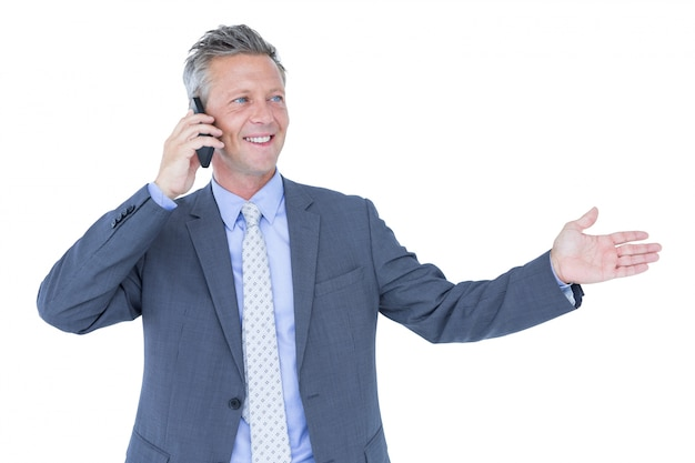 A successful businessman on phone