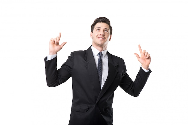 Successful businessman in tie and black suit raised his hands up, isolated on white space
