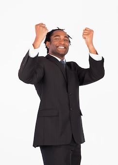 腕を上げた成功したビジネスマン