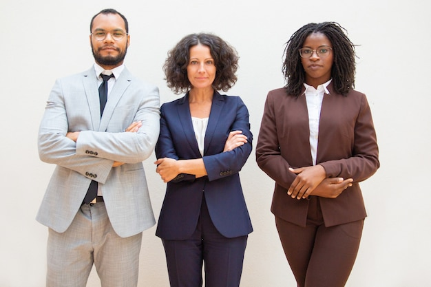 Successful diverse business team posing with arms folded