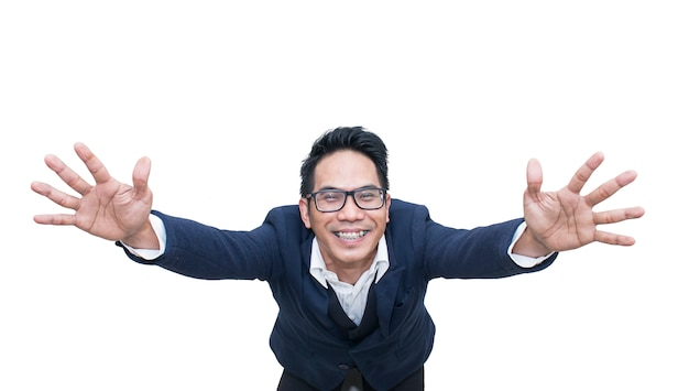 Successful excited asian young business man