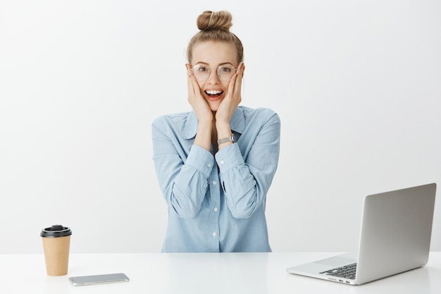 Successful female entrepreneur in blue collar shirt