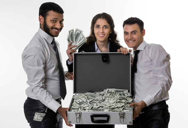 성공한 사람들은 이익을 공유합니다 파트너는 돈을 기뻐합니다 행복한 관리자