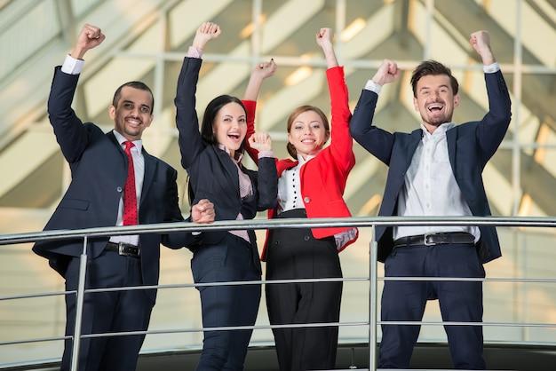 Successful international business people team.