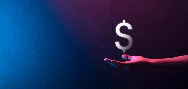 사업가 남자와 성공적인 국제 금융 기호 투자 개념은 성장, 차트 및 달러 기호, 디지털 기술을 보여주는 보유
