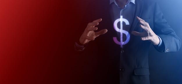 사업가 남자 사람과 성공적인 국제 금융 기호 sinvestment 개념은 성장, 차트 및 달러 기호, 디지털 기술을 보여주는 개최