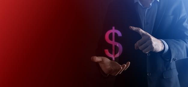 사업가 남자 사람이 보여주는 성공적인 국제 금융 기호 투자 개념
