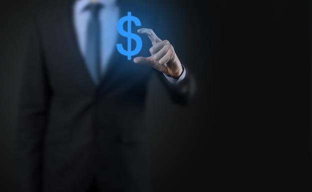 사업가 남자와 성공적인 국제 재무 기호 sinvestment 개념