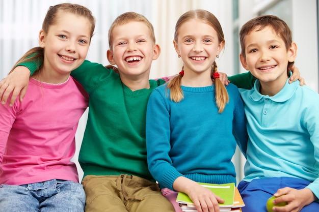 Successful schoolchildren in class
