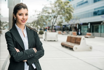 Successful smiling portrait of a young businesswoman