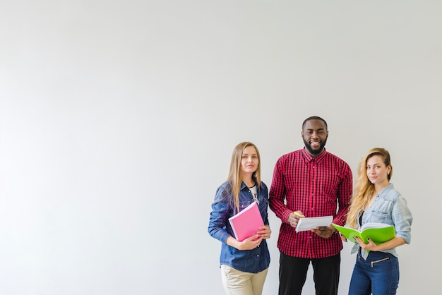 Successful students on white
