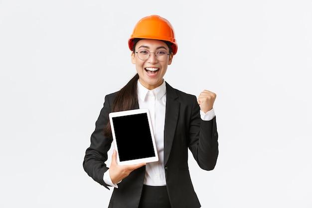 Successful winning female engineer.
