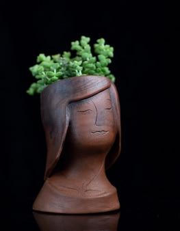 黒に分離された少女の顔の形をした青銅色の植木鉢に多肉植物t