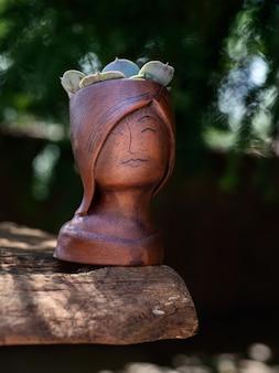 少女の顔の形をした青銅色の植木鉢にジューシーな