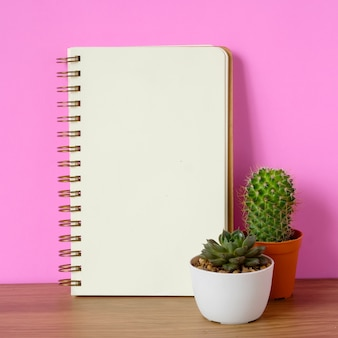 Succulent plants and blank notebook paper on wooden table and pink background