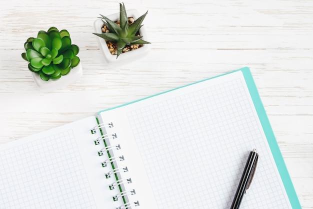 Раскройте тетрадь, ручку, заводы succulents на белом деревянном столе, плоское положение, взгляд сверху. стол офисный стол, место для копирования на рабочем месте