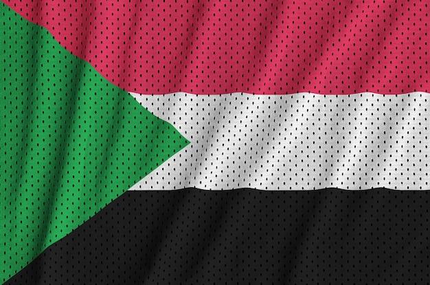 Sudan flag printed on a polyester nylon sportswear mesh fabric