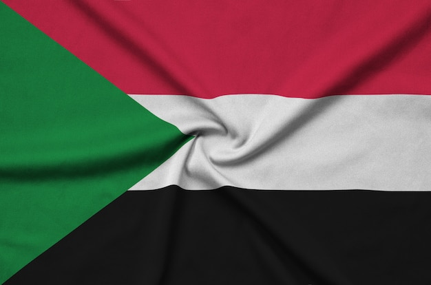 Sudan flag with many folds.