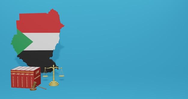 Закон судана для инфографики, контента социальных сетей в 3d-рендеринге