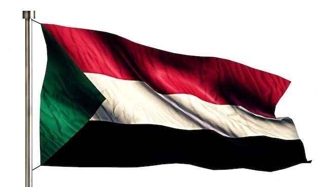 Bandiera nazionale del sudan isolato 3d sfondo bianco