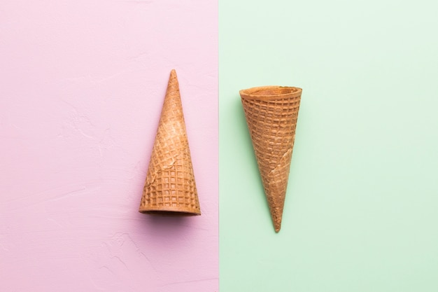 Sugar cones on different color background