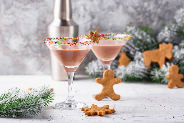 Sugar cookie martini with sprinkles rim