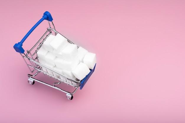 Sugar cubes. shopping cart with write sugar cubes