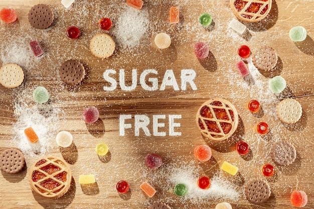 無糖のケーキ。ダイエット食品。上面図。健康的なコンセプトです。