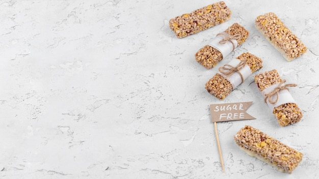 Sugar free snack bars with copy space