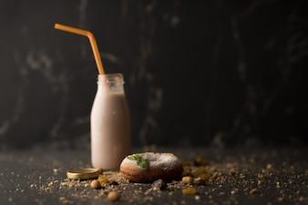 Sugar powder Donut with milk