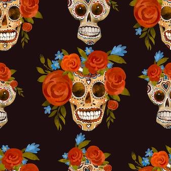 설탕 두개골 빈티지 일러스트입니다. 죽음의 날, 검은 배경에 친코 데 마요 인사말 카드. 꽃 해골