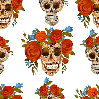シュガースカルヴィンテージシームレスパターン。死者の日、白い背景のシンコデマヨテクスチャ。花の頭蓋骨