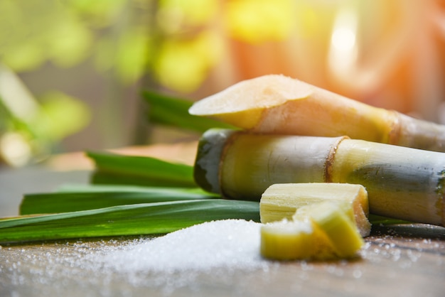 Sugar and sugar cane on wooden  table and nature