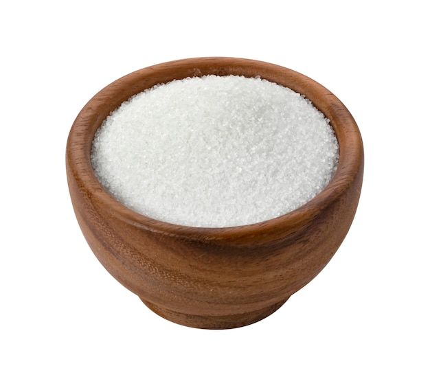 Sugar in wooden bowl isolated