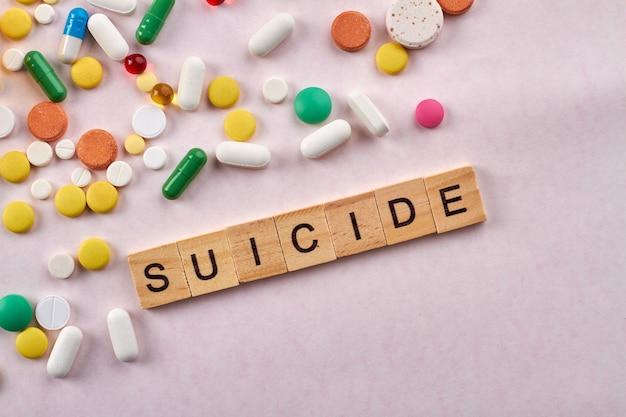 Suicide drugs concept.