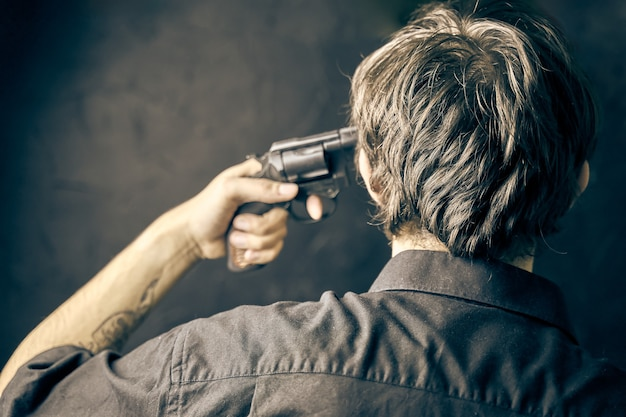 Suicide man put gun to his temples guy wants to shoot himself in the head adolescent depression with...