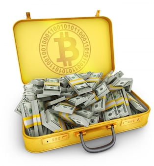 Suitcase bitcoin and dollars