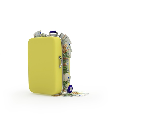 Suitcase filled with euro bills. 3d