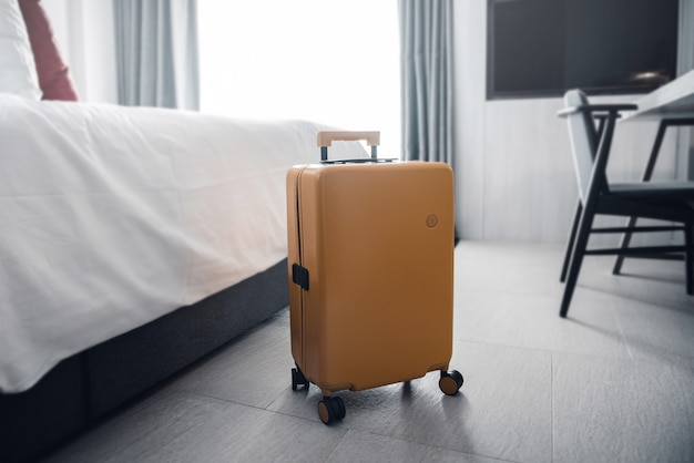 Suitcase in a hotel room.