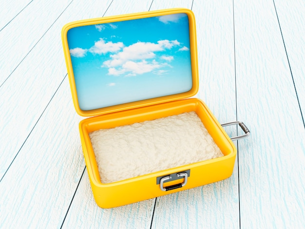 Suitcase open with sand.