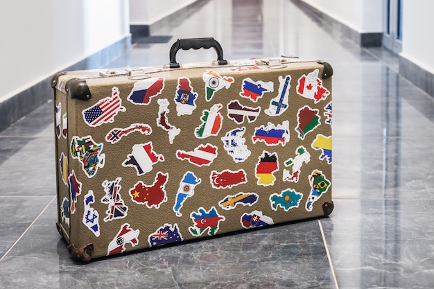 Suitcase stickers of the flags of the countries from travels