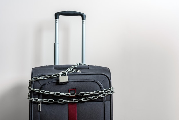Suitcase for travel chained and locked