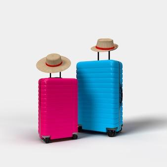 Чемодан, аксессуары для путешественников, изолированные на розовом