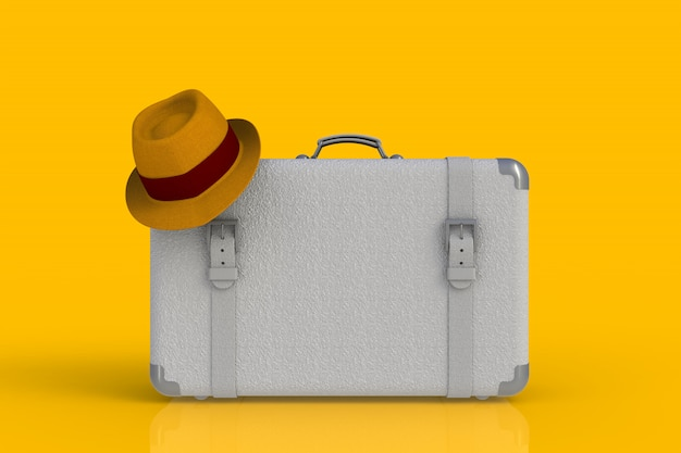 Suitcase of a traveler with  straw hat isolated on yellow background, 3d rendering